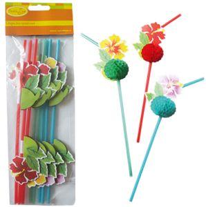 Патибум Q Трубочки для коктейля Цветы Гаваи 8шт