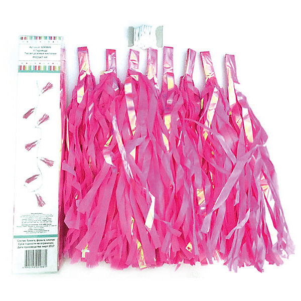 Y Гирлянда Тассел розовые кисточкиНовинки для праздника<br>Характеристики:<br><br>• возраст: от 3 лет;<br>• тип игрушки: гирлянда;<br>• вес: 110 гр;<br>• цвет: розовый;<br>• размеры: 15х20х0,5 см;<br>• материал: бумага, фольга;<br>• бренд: Патибум;<br>• страна производитель: Китай.<br><br>Y Гирлянда «Тассел» розовые кисточки – отличное украшение для детского праздника. Вечеринка, день рождения или другое торжество пройдет значительно веселее, если украсить помещение бумажными гирляндами.  Данное изделие выполнено в виде кисточек большого размера.  Ее удобно вешать и снимать. В серии есть много цветов, поэтому можно совмещать их для яркого украшения. <br><br>Гирлянда от «Патибум» входит в большую коллекцию одноразовой посуды и аксессуаров для проведения детских праздников. Поэтому можно подготовиться к нему, украсив все в едином стиле. Тарелки, стаканы, салфетки и аксессуары с любимыми героями понравятся всем детям. Изделие выполнено из качественных материалов, предназначенных для детей возрастом от трех лет. <br><br>Y Гирлянду «Тассел»  розовые кисточки  можно купить в нашем интернет-магазине.<br><br>Ширина мм: 150<br>Глубина мм: 200<br>Высота мм: 5<br>Вес г: 110<br>Возраст от месяцев: 36<br>Возраст до месяцев: 2147483647<br>Пол: Унисекс<br>Возраст: Детский<br>SKU: 7224896