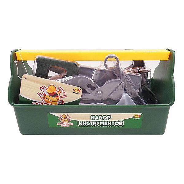 Игровой набор Abtoys Помогаю папе, 19 предметов (в ящике)Наборы инструментов<br>Характеристики:<br><br>• тип игрушки: игровой набор;<br>• комплектация: торцевой ключ, шлицевая отвертка, клещи, пила, молоток с гвоздодером, 4 лекала, брусок, 3 дюбеля, 3 болта, 3 гайки;<br>• возраст: от 3 лет;<br>• вес: 480 гр;<br>• размер: 28x12,8x14,8 см;<br>• бренд: Abtoys;<br>• упаковка: ящик, пленка;<br>• материал: пластик.<br><br>Набор из серии «Помогаю папе» набор инструментов в ящике - это оптимальное решение для организации самых разных ролевых игр ребенка. Набор с большим количеством аксессуаров обязательно увлечет ребенка и подарит ему очень много ярких впечатлений. Ребенок сможет разыграть огромное количество сценок, которые до этого видел в реальной жизни.<br><br>Набор состоит из 19 предметов, среди которых торцевой ключ, шлицевая отвертка, клещи, пила, молоток с гвоздодером, 4 лекала, брусок, 3 дюбеля, 3 болта, 3 гайки. Все предметы сложены в ящик, для каждого из них имеется специальное место.<br>Весь набор сделан из прочного и качественного пластика, который прошел все необходимые проверки и соответствует стандартам качества, необходимым для производства товаров для детей.<br><br>Набор из серии «Помогаю папе» набор инструментов в ящике можно купить в нашем интернет-магазине.<br>Ширина мм: 280; Глубина мм: 128; Высота мм: 148; Вес г: 48; Возраст от месяцев: 36; Возраст до месяцев: 144; Пол: Мужской; Возраст: Детский; SKU: 7225158;