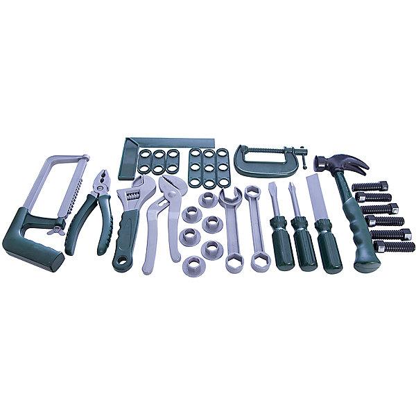 Игровой набор Abtoys Помогаю папе, 24 предметаНаборы инструментов<br>Характеристики:<br><br>• тип игрушки: игровой набор;<br>• комплектация: струбцина, пассатижи, молоток с гвоздодером, напильник, крестообразная отвертка, шлицевая отвертка, два торцевых ключа, шесть болтов, ножовка, разводной ключ, щипцы, 6 лекал, складная линейка;<br>• возраст: от 3 лет;<br>• вес: 540 гр;<br>• размер: 33,5x36x3 см;<br>• бренд: Abtoys;<br>• упаковка: картонная коробка с блистерным окошком;<br>• материал: пластик.<br><br>Набор из серии «Помогаю папе» набор инструментов - это оптимальное решение для организации самых разных ролевых игр ребенка. Набор с большим количеством аксессуаров обязательно увлечет ребенка и подарит ему очень много ярких впечатлений. Ребенок сможет разыграть огромное количество сценок, которые до этого видел в реальной жизни.<br><br>Набор состоит из 24 предметов, среди которых струбцина, пассатижи, молоток с гвоздодером, напильник, крестообразная отвертка, шлицевая отвертка, два торцевых ключа, шесть болтов, ножовка, разводной ключ, щипцы, 6 лекал, складная линейка. Все предметы сложены в коробку, для каждого из них имеется специальное место.<br>Весь набор сделан из прочного и качественного пластика, который прошел все необходимые проверки и соответствует стандартам качества, необходимым для производства товаров для детей.<br><br>Набор из серии «Помогаю папе» набор инструментов можно купить в нашем интернет-магазине.<br>Ширина мм: 335; Глубина мм: 360; Высота мм: 30; Вес г: 54; Возраст от месяцев: 36; Возраст до месяцев: 144; Пол: Мужской; Возраст: Детский; SKU: 7225160;