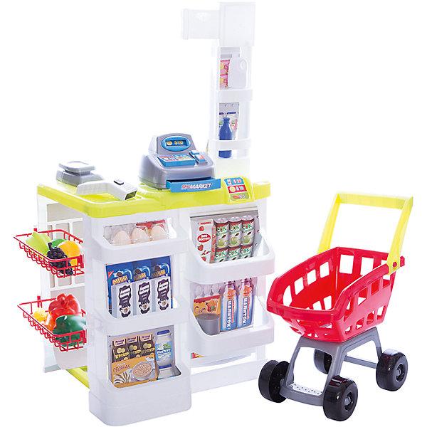 Игровой набор Abtoys Помогаю маме Супермаркет с аксессуарамиДетский супермаркет<br>Характеристики:<br><br>• тип игрушки: игровой набор;<br>• комплектация: тележка, кассовый аппарат, холодильник-витрина, продукты, деньги, карточки, стойка, аксессуары;<br>• возраст: от 3 лет;<br>• вес: 2,6 кг;<br>• размер: 60х19х44 см;<br>• бренд: Abtoys;<br>• упаковка: картонная коробка;<br>• материал: пластик, бумага.<br><br>Набор из серии «Помогаю маме» Супермаркет в наборе с аксессуарами - это оптимальное решение для организации самых разных ролевых игр ребенка. Набор с большим количеством аксессуаров обязательно увлечет ребенка и подарит ему очень много ярких впечатлений. Ребенок сможет разыграть огромное количество сценок, которые до этого видел в реальной жизни, представить себя настоящим взрослым покупателем или кассиром.<br><br>Набор от бренда Abtoys воссоздает настоящий супермаркет дома и позволит ребенку играть как самостоятельно, так и в компании друзей. В комплекте кассовый аппарат, тележка для перевозки продуктов, холодильник витрина с полочками, стойка, аксессуары, имитирующие продукты питания и бутылочки с бытовой химией. Так же в наборе есть деньги различного номинала. Корзину можно катать благодаря удобной ручке и вращающимся колесам. Набор в яркой коробке из плотного картона.<br>Весь набор сделан из прочного и качественного пластика, который прошел все необходимые проверки и соответствует стандартам качества, необходимым для производства товаров для детей.<br><br>Набор из серии «Помогаю маме» Супермаркет в наборе с аксессуарами можно купить в нашем интернет-магазине.<br><br>Ширина мм: 600<br>Глубина мм: 190<br>Высота мм: 440<br>Вес г: 2<br>Возраст от месяцев: 36<br>Возраст до месяцев: 144<br>Пол: Женский<br>Возраст: Детский<br>SKU: 7225162
