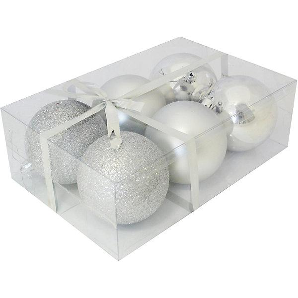Набор елочных шаров Magic Land 6 шт, 8 см (серебро)Новинки Новый Год<br>Характеристики товара:<br><br>• в комплекте: 6 шаров;<br>• диаметр шара: 8 см;<br>• цвет: серебристый;<br>• возраст: от 3 лет;<br>• материал: пластик;<br>• размер упаковки: 23,5х15,7х8 см;<br>• вес: 177 грамм.<br><br>Набор шаров от торговой марки Волшебная страна выполнен в классическом серебристом цвете в трех разных вариантах: матовая поверхность, глянцевая поверхность, поверхность с блестками. С таким набором можно создать удивительную атмосферу праздника, наполненную ожиданием чудес и волшебства. Шары изготовлены из прочного пластика, благодаря чему малыши смогут принять участие в украшении дома. Диаметр шара - 8 сантиметров.<br><br>Набор шаров PB8-6SMB-S, 6 шт., 8 см, Волшебная страна можно купить в нашем интернет-магазине.<br><br>Ширина мм: 235<br>Глубина мм: 157<br>Высота мм: 80<br>Вес г: 177<br>Возраст от месяцев: 36<br>Возраст до месяцев: 2147483647<br>Пол: Унисекс<br>Возраст: Детский<br>SKU: 7225244