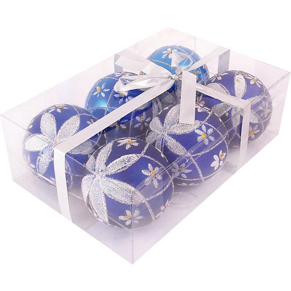 Набор елочных шаров Magic Land 6 шт, 6 см (синие)Ёлочные игрушки<br>Характеристики товара:<br><br>• в комплекте: 6 шара;<br>• диаметр шара: 6 см;<br>• цвет: синий;<br>• возраст: от 3 лет;<br>• материал: пластик;<br>• размер упаковки: 17х11х6 см;<br>• вес: 87 грамм.<br><br>Набор шаров от торговой марки Волшебная страна состоит из шести шаров, выполненных в синем цвете. Глянцевая поверхность шариков дополнена красивым рисунком белоснежного цвета. Шары изготовлены из пластика, поэтому дети с удовольствием помогут родителям украсить комнату, не боясь разбить игрушку. Диаметр шара - 6 сантиметров.<br><br>Набор шаров PBD6-6-807-B, 6 шт., 6 см, Волшебная страна можно купить в нашем интернет-магазине.<br><br>Ширина мм: 170<br>Глубина мм: 110<br>Высота мм: 60<br>Вес г: 87<br>Возраст от месяцев: 36<br>Возраст до месяцев: 2147483647<br>Пол: Унисекс<br>Возраст: Детский<br>SKU: 7225251