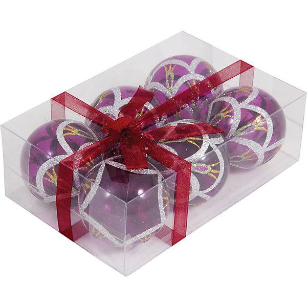 Набор елочных шаров Magic Land 6 шт, 6 см (розовые)Новинки Новый Год<br>Характеристики товара:<br><br>• в комплекте: 6 шара;<br>• диаметр шара: 6 см;<br>• цвет: фиолетовый;<br>• возраст: от 3 лет;<br>• материал: пластик;<br>• размер упаковки: 17х11х6 см;<br>• вес: 87 грамм.<br><br>В набор от торговой марки Волшебная страна входят 6 удивительно красивых шаров фиолетового цвета с рисунком, выполненном в серебристом и золотистом цветах. Шарики изготовлены из полупрозрачного пластика. Диаметр шара - 6 сантиметров. Эти шары непременно порадуют детей и взрослых и помогут создать прекрасную атмосферу праздника и волшебства.<br><br>Набор шаров PBD6-6-995-P, 6 шт., 6 см, Волшебная страна можно купить в нашем интернет-магазине.<br>Ширина мм: 170; Глубина мм: 115; Высота мм: 60; Вес г: 91; Возраст от месяцев: 36; Возраст до месяцев: 2147483647; Пол: Унисекс; Возраст: Детский; SKU: 7225252;