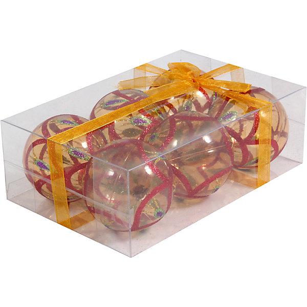 Набор елочных шаров Magic Land 6 шт, 6 см (желтые)Ёлочные игрушки<br>Характеристики товара:<br><br>• в комплекте: 6 шара;<br>• диаметр шара: 6 см;<br>• цвет: желтый;<br>• возраст: от 3 лет;<br>• материал: пластик;<br>• размер упаковки: 17х11х6 см;<br>• вес: 87 грамм.<br><br>В набор от торговой марки Волшебная страна входят 6 удивительно красивых шаров желтого цвета с рисунком, выполненном в красном, серебристом и фиолетовом цветах. Шарики изготовлены из полупрозрачного пластика. Диаметр шара - 6 сантиметров. Эти шары непременно порадуют детей и взрослых и помогут создать прекрасную атмосферу праздника и волшебства.<br><br>Набор шаров PBD6-6-995-Y, 6 шт., 6 см, Волшебная страна можно купить в нашем интернет-магазине.<br>Ширина мм: 170; Глубина мм: 115; Высота мм: 60; Вес г: 91; Возраст от месяцев: 36; Возраст до месяцев: 2147483647; Пол: Унисекс; Возраст: Детский; SKU: 7225253;