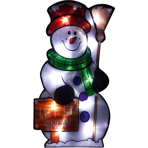 Световое панно Magic Land Веселый снеговик 20 ламп, 42,5х22,5 смНовинки Новый Год<br>Характеристики товара:<br><br>• способ крепления: присоска;<br>• размер: 45,5х22,5 см;<br>• количество светодиодных ламп: 20;<br>• использование: внутри помещения;<br>• 220-240 V/16,3 W/50 Hz;<br>• материал: пластик, медь;<br>• длина шнура: 1,5 м;<br>• размер упаковки: 3х25,5х45,5 см;<br>• вес: 394 грамма.<br><br>Световое панно «Веселый снеговик» создаст удивительную праздничную атмосферу в преддверии Нового года. Панно выполнено в виде снеговика, освещаемого 20-ю светодиодными мини-лампами. Изделие крепится к плоским поверхностям с помощью присосок. Предусмотрено использование только внутри помещения. Степень защиты IP20. Размер панно - 42,5х22,5 сантиметров.<br><br>Панно световое «Веселый снеговик», 20 ламп, размеры: 42,5*22,5 см, Волшебная страна можно купить в нашем интернет-магазине.<br>Ширина мм: 455; Глубина мм: 255; Высота мм: 30; Вес г: 394; Возраст от месяцев: 36; Возраст до месяцев: 2147483647; Пол: Унисекс; Возраст: Детский; SKU: 7225256;