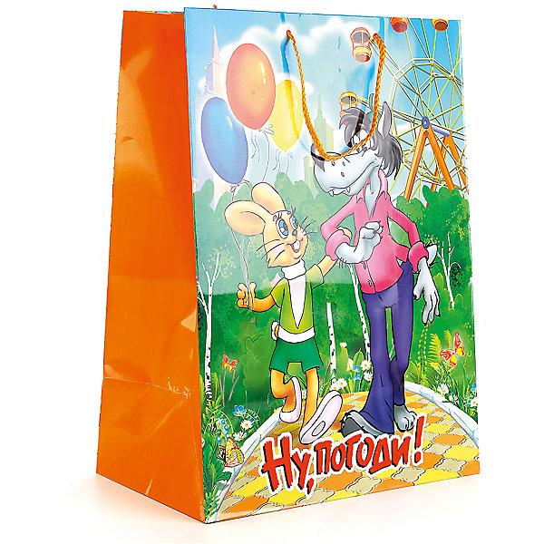 Пакет подарочный Ну, погоди  33Х46Х20 см,бумажный глянцевыйНовинки для праздника<br>Подарочный пакет Домашине животные.Собаки станет неотъемлемой частью детского подарка. Красочный пакет принесет ребенку радость предвкушения и ему будет интересно заглянуть в него, чтобы узнать, что же приготовили родные или друзья ему на день рождения, да и на любой другой праздник. Такая упаковка подойдёт для большого подарка. Размер пакета 33х46х20 см.<br><br>Ширина мм: 33<br>Глубина мм: 7<br>Высота мм: 46<br>Вес г: 150<br>Возраст от месяцев: 36<br>Возраст до месяцев: 168<br>Пол: Унисекс<br>Возраст: Детский<br>SKU: 7225715