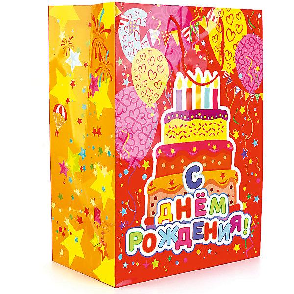 Пакет подарочный С Днем Рождения! 33Х46Х20 см  глянцевыйНовинки для праздника<br>Характеристики товара:<br><br>• возраст: от 3 лет;<br>• упаковка: пакет;<br>• размер пакета: 33х46х20 см.;<br>• цвет: мультиколор;<br>• материал: бумага;<br>• бренд, страна-производитель: Веселый праздник, Китай.<br>                                                                                                                                                                                                                                                                                                              Подарочный пакет «С Днем Рождения!» станет неотъемлемой частью детского подарка. Красочный пакет принесет ребенку радость предвкушения и ему будет интересно заглянуть в него, чтобы узнать, что же приготовили родные или друзья ему на день рождения, да и на любой другой праздник. <br><br>Такая упаковка подойдёт для большого подарка. Изделие выполненно из прочной глянцевой бумаги с красочным изображением  празничного торта и надписью С Днем Рождения!<br><br>Подарочный пакет «С Днем Рождения!», 33х46х20 см., Веселый праздник  можно купить в нашем интернет-магазине.<br>Ширина мм: 33; Глубина мм: 20; Высота мм: 46; Вес г: 150; Возраст от месяцев: 36; Возраст до месяцев: 168; Пол: Унисекс; Возраст: Детский; SKU: 7225719;