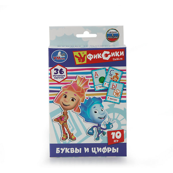 Карточки развивающие  Фиксики Учим алфавит и цифры 36 карточекОбучающие карточки<br>Чтобы заинтересовать ребёнка учебным процессом, достаточно привлечь к нему любимых персонажей мультфильмов. Поэтому эти красочные карточки с Фиксиками являются беспроигрышным вариантом, чтобы в форме игры познакомить детей с буквами русского алфавита и цифрами на примере заданий и картинок. Чтобы игровой процесс приносил ребенку не только радость, но и новые полезные знания, подарите ему эти развивающие карточки. Благодаря красочным картинкам и увлекательным заданиям дети познакомятся с буквами алфавита и цифрами. Настольная игра создана по мотивам популярного мультика «Фиксики», поэтому упаковка украшена портретами персонажей, и они помогают крохе во время игры. В подробной инструкции представлено 10 вариантов развлечений с использованием карточек и правила игры. Развивающий набор будет способствовать улучшению логического мышления детей, а также расширения их кругозора. Карточки изготовлены из прочного картона, который отличается особой прочностью и окрашен в яркие насыщенные цвета. В комплекте: 36 карточек, правила игры. Материал: картон. Рекомендовано детям от 3-х лет.<br><br>Ширина мм: 16<br>Глубина мм: 2<br>Высота мм: 9<br>Вес г: 120<br>Возраст от месяцев: 36<br>Возраст до месяцев: 84<br>Пол: Унисекс<br>Возраст: Детский<br>SKU: 7225722