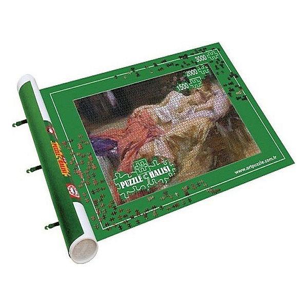 Коврик для сборки и хранения пазлов Art Puzzle, до 3000 деталейАксессуары для пазлов<br>Характеристики товара:<br><br>• возраст: от 7 лет;<br>• пол: мальчик, девочка;<br>• цвет: зеленый;<br>• в комплекте:  большой коврик, картонный валик и две фиксирующие резинки;<br>• из чего сделана игрушка (состав): текстиль;<br>• детальки не сдвигаются;<br>• размер упаковки: 110x11x11 см;<br>• упаковка: картонная коробка;<br>• размер пазла: до 3000 шт;<br>• размер коврика: 100х177 см;<br>• вес: 1308 г.;<br>• страна обладатель бренда: Германия.<br><br>Набор для сборки пазлов Art Puzzle - незаменимая вещь для головоломок. <br><br>Набор включает большой коврик, картонный валик и две фиксирующие резинки. Используя входящие в комплект валик и резинки, коврик можно сворачивать, не нарушая целостность картинки. На таком коврике пазл держится как приклеенный! Коврик подходит для сборки пазлов до 3000 элементов.<br><br>Коврик для сборки и хранения пазлов бренда Art Puzzle можно купить в нашем интернет-магазине.<br><br>Ширина мм: 1005<br>Глубина мм: 106<br>Высота мм: 106<br>Вес г: 1308<br>Возраст от месяцев: 84<br>Возраст до месяцев: 2147483647<br>Пол: Унисекс<br>Возраст: Детский<br>SKU: 7226050