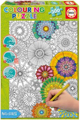 Пазл-раскраска Educa Цветы , 300 деталей