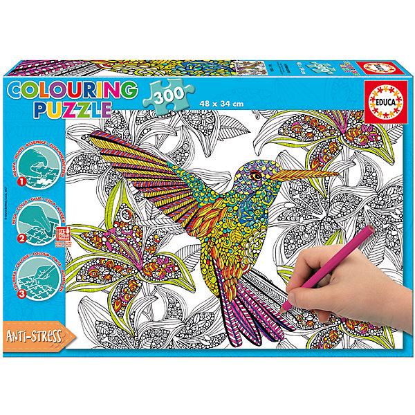 Пазл-раскраска Educa Колибри, 300 деталейПазлы для детей постарше<br>Характеристики товара:<br><br>• возраст: от 3 лет;<br>• количество элементов: 300 шт.;<br>• из чего сделана игрушка (состав):  бумага, картон, синтетический полимер;<br>• вес: 454 гр.;<br>• размер собранного изображения: 48х34 см;<br>• размер упаковки: 33х4,5х23 см;<br>• страна-производитель: Испания.<br><br>2-в-1: пазл-раскраска «Колибри» от Educa для детей в возрасте от 3 лет. И головоломка и набор для детского творчества одновременно, этот пазл поможет развить внимание, терпение, умение находить общее в частном у ребенка и развить его художественный вкус. Также способствует развитию мелкой моторики рук и помогает подготовиться к школе.<br>Количество элементов пазла - 300 штук.<br><br>Пазл-раскраска «Колибри» от Educa можно купить в нашем интернет-магазине.<br><br>Ширина мм: 333<br>Глубина мм: 45<br>Высота мм: 230<br>Вес г: 454<br>Возраст от месяцев: 36<br>Возраст до месяцев: 2147483647<br>Пол: Унисекс<br>Возраст: Детский<br>SKU: 7226056