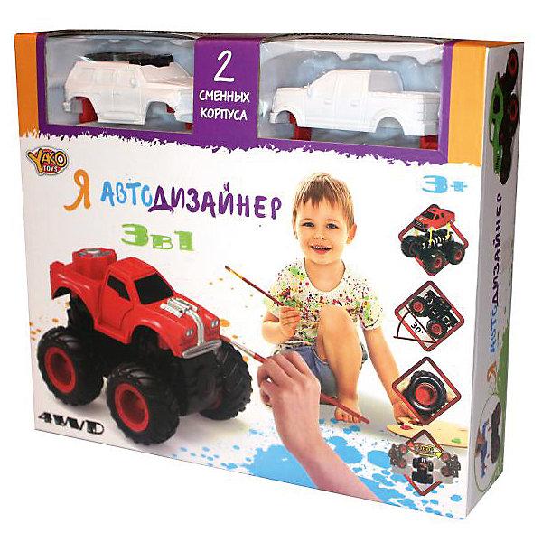 Набор для творчества 3 в 1 Yako Toys Я автодизайнер, M6540-1Наборы для росписи<br>Набор с полноприводной машинкой и 2-мя корпусами под раскраску. В состав набора входит набор красок (5 цветов) на водной основе. 2 кисточки и стаканчик. В состав набора включены 2 сменных корпуса, что позволяет изменить внешний облик игрушки. Смена корпуса производится с помощью нажатия на кнопку, расположенную сзади на базовой части машины.Машина имеет особую конструкцию, предполагающую связь всех 4-х колёс и мощный инерционный механизм. Тип инерционного механизма - фрикционный (т.е. машину можно разогнать сделав несколько поступательных движений, прижимая её к поверхности). При постановке машины на дыбы (вертикально на задних колёсах) она вращается вокруг своей оси. Кроме того, машина снабжена механизмом смены корпуса.<br>Ширина мм: 254; Глубина мм: 66; Высота мм: 220; Вес г: 346; Возраст от месяцев: 36; Возраст до месяцев: 2147483647; Пол: Мужской; Возраст: Детский; SKU: 7226059;