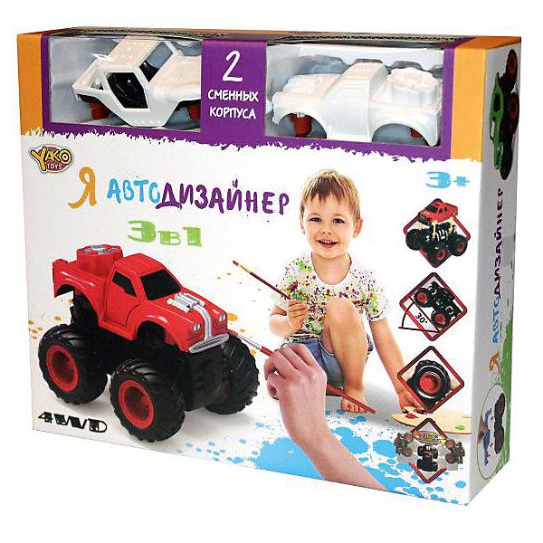 Набор для творчества 3 в 1 Yako Toys Я автодизайнер, M6540-3Наборы для росписи<br>Набор с полноприводной машинкой и 2-мя корпусами под раскраску. В состав набора входит набор красок (5 цветов) на водной основе. 2 кисточки и стаканчик. В состав набора включены 2 сменных корпуса, что позволяет изменить внешний облик игрушки. Смена корпуса производится с помощью нажатия на кнопку, расположенную сзади на базовой части машины.Машина имеет особую конструкцию, предполагающую связь всех 4-х колёс и мощный инерционный механизм. Тип инерционного механизма - фрикционный (т.е. машину можно разогнать сделав несколько поступательных движений, прижимая её к поверхности). При постановке машины на дыбы (вертикально на задних колёсах) она вращается вокруг своей оси. Кроме того, машина снабжена механизмом смены корпуса.<br>Ширина мм: 254; Глубина мм: 66; Высота мм: 220; Вес г: 346; Возраст от месяцев: 36; Возраст до месяцев: 2147483647; Пол: Мужской; Возраст: Детский; SKU: 7226061;