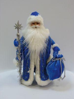 MAG2000 Дед Мороз в голубой шубе, 40 см, в полибеге