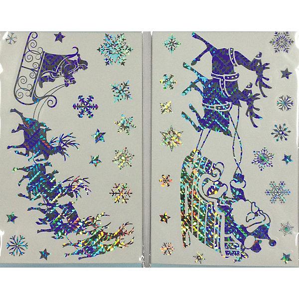 Лист с декоративными новогодними наклейкамиНовогодние наклейки на окна<br>Лист с голографическими декоративными новогодними наклейками на окна, стены, из пвх и бумаги, 25*42 см, 4 в ассортименте, для использования внутри помещения, в полибеге с картонкой<br>Ширина мм: 4; Глубина мм: 250; Высота мм: 420; Вес г: 37; Возраст от месяцев: 36; Возраст до месяцев: 2147483647; Пол: Унисекс; Возраст: Детский; SKU: 7227814;