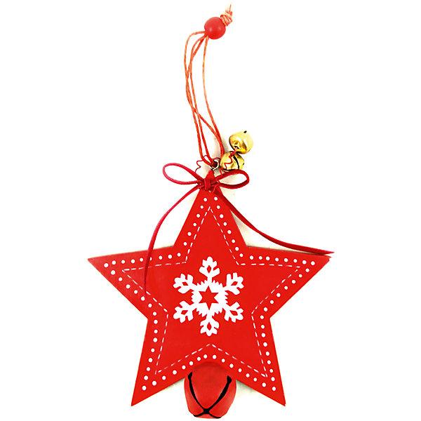 Новогодняя ёлочное украшение из дерева, звезда, в полибеге с картонкой