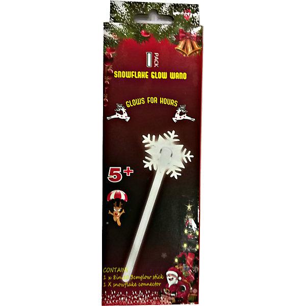 Неоновая светящаяся волшебная палочка со снежинкой