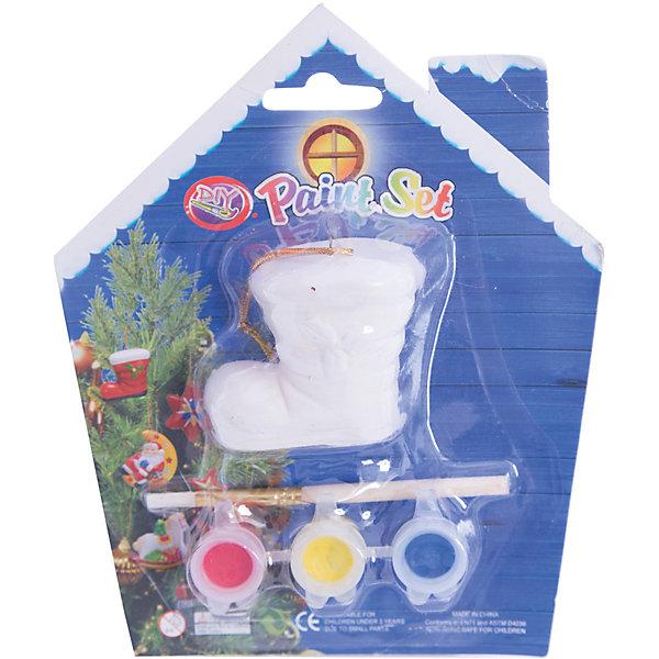 Набор для детского творчества, Сапожок - 5.6x4x5.3см, 3 краски, кисточка, блистер в форме домика - 14*14 см