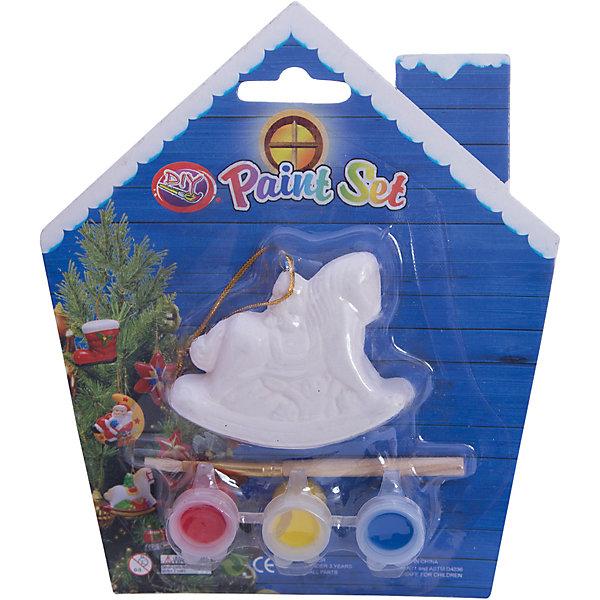 Набор для детского творчества, Лошадка-6.8x2x5.5см, 3 краски, кисточка, блистер в форме домика - 14*14 см