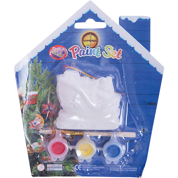Набор для детского творчества, Санки-6x3x5.7см, 3 краски, кисточка, блистер в форме домика - 14*14 см