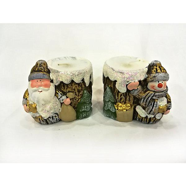 Новогоднее украшение в ассортименте, дед мороз/снеговик-подсвечник со свечей, 8,2*5,8*7,2 см
