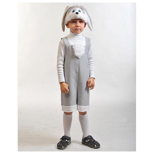 Костюм Зайчик серый, ткань-плюш, рост 100-125Карнавальные костюмы для мальчиков<br>Белый и пушистый зайчишка – распространенный фольклорный персонаж, которого так любят играть дети! Карнавальный костюм Зайчик подходит для утренников и новогодних огоньков, костюмированных праздников или просто для милой фотосессии. Костюм состоит из шорт и жилетки. Шапочка-маска с заячьими ушками придает образу выразительности.<br><br>Ширина мм: 290<br>Глубина мм: 60<br>Высота мм: 360<br>Вес г: 220<br>Возраст от месяцев: 48<br>Возраст до месяцев: 72<br>Пол: Унисекс<br>Возраст: Детский<br>SKU: 7228426