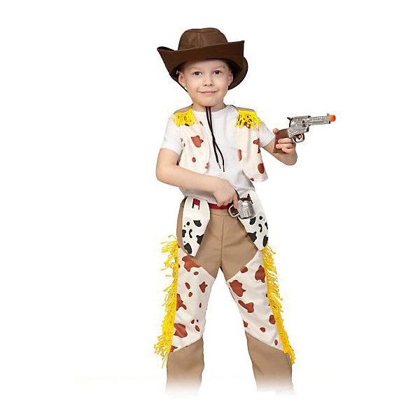 Костюм Ковбой Джонни, ткань-плюш, рост 116-122Карнавальные костюмы для мальчиков<br>Карнавальный костюм Ковбой Джонни позволит ребенку стать одним из самых ярких и запоминающихся персонажей детского праздника. Костюм состоит из брюк и жилета из бежевой ткани со вставками из белого пятнистого материала. В качестве отделки используются желтая бахрома и ремень. Довершают образ стильная ковбойская шляпа на завязках и два отличных пистолета.<br><br>Ширина мм: 270<br>Глубина мм: 70<br>Высота мм: 300<br>Вес г: 1020<br>Возраст от месяцев: 60<br>Возраст до месяцев: 72<br>Пол: Мужской<br>Возраст: Детский<br>SKU: 7228427