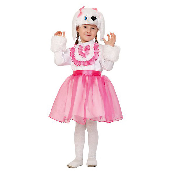 Костюм Пуделиха Софи, рост 98-128Карнавальные костюмы для девочек<br>Карнавальный костюм Пуделиха Софи создан специально для девочек. Он состоит из платья белого цвета с пышной розовой юбкой и отделкой из розовых рюшек на груди, а также шапочки-маски в виде мордочки собаки. Софи сможет порадовать всех присутствующих на детском празднике, а ее наряд не останется без внимания.<br><br>Ширина мм: 280<br>Глубина мм: 40<br>Высота мм: 190<br>Вес г: 360<br>Возраст от месяцев: 36<br>Возраст до месяцев: 60<br>Пол: Женский<br>Возраст: Детский<br>SKU: 7228434