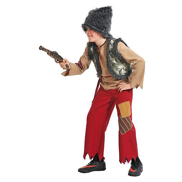 Костюм Разбойник, ткань-плюш, рост 128-134Карнавальные костюмы для мальчиков<br>Детский карнавальный костюм разбойника для мальчиков. В комплекте папаха, рубаха, штаны, жилет и мушкет.<br><br>Ширина мм: 280<br>Глубина мм: 80<br>Высота мм: 310<br>Вес г: 1680<br>Возраст от месяцев: 84<br>Возраст до месяцев: 108<br>Пол: Мужской<br>Возраст: Детский<br>SKU: 7228438