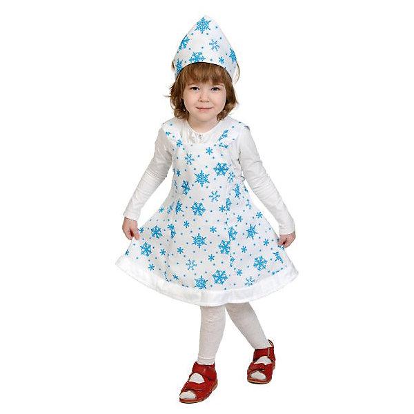 Костюм Снежинка, ткань-плюш, рост 92-122 смКарнавальные костюмы для девочек<br>Карнавальный костюм Снежинка станет неплохим нарядом для детского карнавала в период новогодних праздников. В комплект входят корона и сарафан, которые выполнены из приятной на ощупь ткани, которая очень хорошо смотрится. В таком костюме девочка будет выглядеть очень хорошо и выделится на вечеринке.<br><br>Параметры изделия:<br>• длина платья - 48 см<br>• головной убор - 52<br>Ширина мм: 270; Глубина мм: 50; Высота мм: 300; Вес г: 720; Возраст от месяцев: 36; Возраст до месяцев: 60; Пол: Женский; Возраст: Детский; SKU: 7228441;