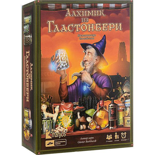 Настольная игра Cosmodrome Games Алхимик из ГластонбериНастольные игры для всей семьи<br>Добро пожаловать в волшебный городок Гластонбери, расположенный на юго-западе Англии. Во все века городок был окружен мифами о Святом Граале, короле Артуре и волшебстве. Здесь любой начинающий волшебник найдет все ингредиенты, необходимые для приготовления магических снадобий.<br><br>Цель игры<br><br>«Гластонбери» — локализация популярной в Германии семейной игры. Это легкая в освоении игра на память и тактическое мышление. Отличное оформление погружает игроков в атмосферу магического города, от которой невозможно оторваться. В этом городе игроки в роли волшебников собирают волшебные ингредиенты и варят магические зелья.<br><br>В роли волшебников игроки по очереди собирают карты с ингредиентами (складывая их в волшебные котлы своего цвета) для приготовления волшебных снадобий. В конце игры собранные ингредиенты подсчитываются. Побеждает игрок, набравший наибольшее количество очков. При этом каждый игрок старается собрать как можно больше карт с одним ингредиентом. Следует учитывать, что игрок всегда видит только верхнюю карту с ингредиентом в своем котле, поэтому он должен помнить, какие ингредиенты собраны ранее. В противном случае в конце игры в его котле соберутся одиночные карты с разными ингредиентами, что сильно затруднит успех, принеся отрицательные очки.<br>В комплекте<br><br>    72 карты с ингредиентами<br>    2 джокера<br>    10 карт-заклинаний<br>    4 угловые карты<br>    4 карты с волшебными котлами<br>    4 карты-подсказки для подсчета очков<br>    10 карт с рецептами<br>    4 фигурки волшебников<br>    Правила игры<br><br>Ширина мм: 270<br>Глубина мм: 190<br>Высота мм: 65<br>Вес г: 875<br>Возраст от месяцев: 72<br>Возраст до месяцев: 2147483647<br>Пол: Унисекс<br>Возраст: Детский<br>SKU: 7228610