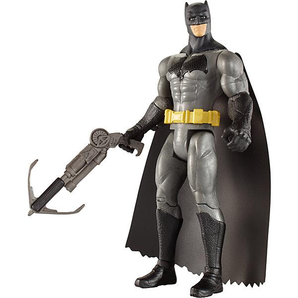 Базовая фигурка Mattel Batman Бэтмен против Супермена Бэтмен в оружием-кошкой, 15 смГерои комиксов<br>Характеристики:<br><br>• возраст: от 3 лет;<br>• тип игрушки: фигурки;<br>• высота фигурки: 15 см;<br>• материал: пластик;<br>• размер: 4,5х16,5х26,5 см;<br>• вес: 180 гр; <br>• бренд: Mattel;<br>• страна производитель: Китай.<br><br>Фигурки «Бэтмен против Супермена» входят в большую серию, которая так нравится детям разного возраста. Красочные и яркие фигурки выполнены в виде супергероев, поэтому они особенно порадуют маленьких любителей Бетмэна и его друзей. Игрушки выполнены из безопасного пластика в виде популярных героев комиксов – их вид максимально реалистичен.  Детально проработаны особенности внешнего вида персонажа, его оружие. Оно  фиксируется в руках супергероя.<br><br>Каждая фигурка имеет подвижную голову, руки и ноги для максимально увлекательной и веселой игры. Малыш с удовольствием соберет все серию и будет обмениваться с друзьями. Кроме того, игрушки имеют высоту 15 см, поэтому их очень удобно брать в машину или самолет во время поездок. <br><br>Фигурки «Бэтмен против Супермена»  можно купить в нашем интернет-магазине.<br><br>Ширина мм: 45<br>Глубина мм: 165<br>Высота мм: 265<br>Вес г: 180<br>Возраст от месяцев: 36<br>Возраст до месяцев: 144<br>Пол: Мужской<br>Возраст: Детский<br>SKU: 7229189