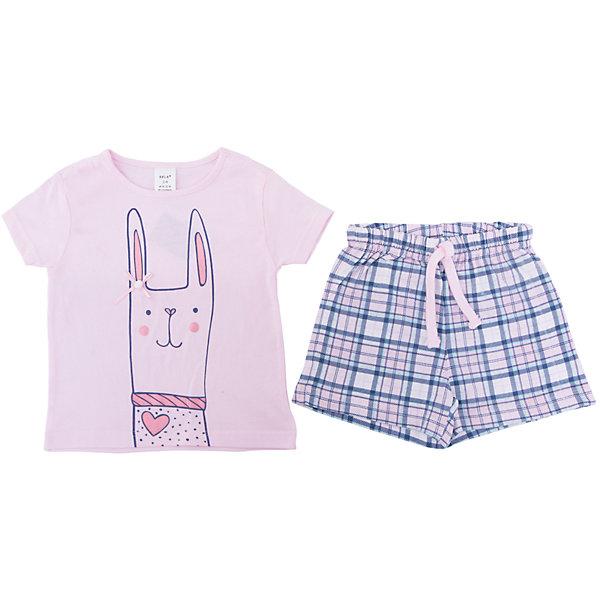 Пижама SELA для девочкиПижамы и сорочки<br>Характеристики товара:<br><br>• цвет: розовый<br>• комплектация: футболка и шорты<br>• состав ткани: 100% хлопок<br>• сезон: круглый год<br>• пояс: резинка <br>• короткие рукава<br>• страна бренда: Россия<br>• страна производства: Индия<br><br>Симпатичная детская пижама декорирована оригинальным принтом. Хлопковая пижама сделана из качественного натурального материала. Такой комплект состоит из футболки и шорт. Удобная пижама для девочки от Sela поможет обеспечить ребенку комфорт. <br><br>Пижаму Sela (Села) для девочки можно купить в нашем интернет- магазине.<br><br>Ширина мм: 281<br>Глубина мм: 70<br>Высота мм: 188<br>Вес г: 295<br>Цвет: розовый<br>Возраст от месяцев: 72<br>Возраст до месяцев: 84<br>Пол: Женский<br>Возраст: Детский<br>Размер: 116/122,92/98,140/146,128/134,104/110<br>SKU: 7229921