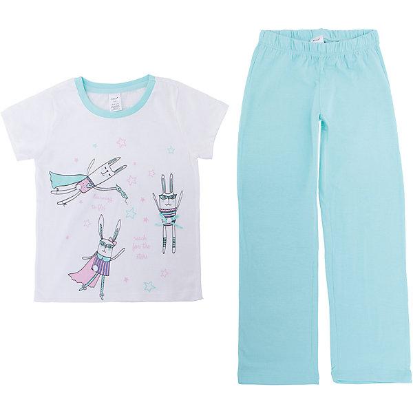 Пижама SELA для девочкиПижамы и сорочки<br>Характеристики товара:<br><br>• цвет: мятный<br>• комплектация: футболка и брюки<br>• состав ткани: 100% хлопок<br>• сезон: круглый год<br>• пояс: резинка <br>• короткие рукава<br>• страна бренда: Россия<br>• страна производства: Индия<br><br>Обеспечить ребенку комфорт во сне поможет такой пижамный комплект. Удобная пижама для девочки от Sela состоит из футболки и брюк. Такая детская пижама отличается мягкими швами. Хлопковая пижама сделана из качественного натурального материала. <br><br>Пижаму Sela (Села) для девочки можно купить в нашем интернет- магазине.<br>Ширина мм: 281; Глубина мм: 70; Высота мм: 188; Вес г: 295; Цвет: мятный; Возраст от месяцев: 48; Возраст до месяцев: 60; Пол: Женский; Возраст: Детский; Размер: 104/110,92/98,140/146,128/134,116/122; SKU: 7229927;