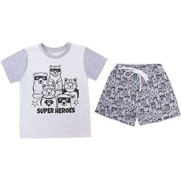 Пижама SELA для мальчикаПижамы и сорочки<br>Характеристики товара:<br><br>• цвет: серый<br>• комплектация: футболка и шорты<br>• состав ткани: 100% хлопок<br>• сезон: круглый год<br>• пояс: резинка, шнурок<br>• короткие рукава<br>• страна бренда: Россия<br>• страна производства: Индия<br><br>Серая детская пижама декорирована оригинальным принтом. Хлопковая пижама сделана из качественного натурального материала. Такой комплект состоит из футболки и шорт. Удобная пижама для мальчика от Sela поможет обеспечить ребенку комфорт. <br><br>Пижаму Sela (Села) для мальчика можно купить в нашем интернет- магазине.<br>Ширина мм: 281; Глубина мм: 70; Высота мм: 188; Вес г: 295; Цвет: серый; Возраст от месяцев: 24; Возраст до месяцев: 36; Пол: Мужской; Возраст: Детский; Размер: 92/98,104/110,116/122; SKU: 7229949;