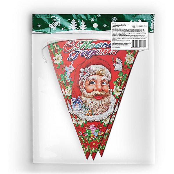 Новогодняя гирлянда-флажки Pinofino С Новым Годом!, 2,4 мНовогодняя мишура и бусы<br>Характеристики товара:<br><br>• возраст: от 3 лет;<br>• упаковка: пакет;<br>• размер упаковки: 26х35х7 см.;<br>• форма флажков: треугольные;<br>• длина гирлянды - 2,4 м;<br>• цвет: красный с рисунком;<br>• материал: бумага;<br>• бренд: Pinofino;<br>• страна-производитель: Китай.<br>                                                                                                                                                                                                                                                                                                              Гирлянда из  флажков «С Новым Годом» - это треугольные флажки новогодней тематики с изображением Деда Мороза и надписи на русском языке. Такая гирлянда будет отличным укращением помещения и сделает  торжество еще интересней, увлекательней и веселей. <br><br>Гирлянда от торгового бренда Pinofino, который на протяжении многих лет производит качественные товары для праздника, изготовлена из безопасных для здоровья материалов, прошедших соответствие европейским стандартам качества. <br><br>Гирлянду из  флажков «С Новым Годом», 2,4 м., Pinofino  можно купить в нашем интернет-магазине.<br>Ширина мм: 7; Глубина мм: 260; Высота мм: 350; Вес г: 34; Возраст от месяцев: 36; Возраст до месяцев: 2147483647; Пол: Унисекс; Возраст: Детский; SKU: 7230483;