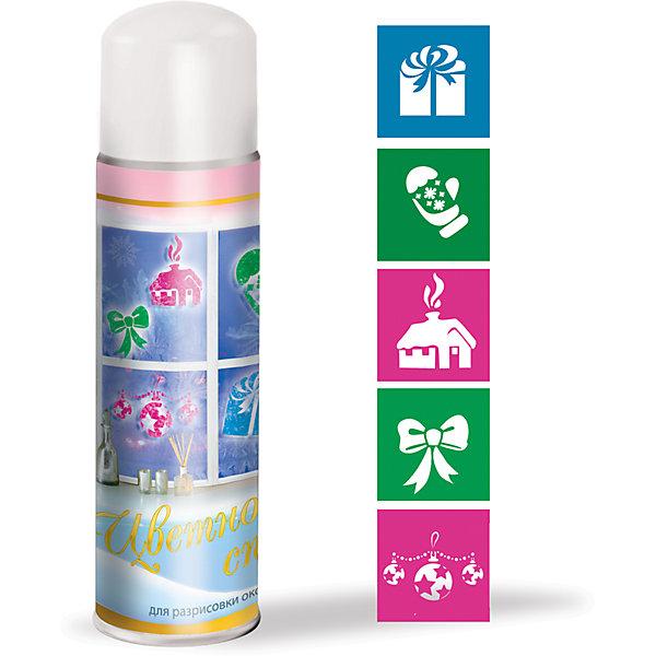 Новогодний набор B&amp;H: цветной спрей для окна + 5 трафаретовЁлочные игрушки<br>Спрей декоративный Снег нетающий ЦВЕТНОЙ, 250 мл. Цвета снега: голубой, зеленый, розовый. В комплект входят 5 трафаретов для создания рисунка на окне, витрине. Трафареты многоразового использования.<br><br>Ширина мм: 63<br>Глубина мм: 63<br>Высота мм: 198<br>Вес г: 232<br>Возраст от месяцев: 36<br>Возраст до месяцев: 2147483647<br>Пол: Унисекс<br>Возраст: Детский<br>SKU: 7230485