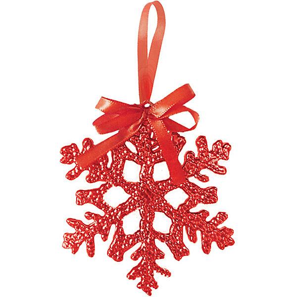 Украшение на елку B&amp;H Снежинка 10 см, краснаяЁлочные игрушки<br>Характеристики товара:<br><br>• возраст: от 3 лет;<br>• упаковка: пакет;<br>• вес: 11 гр.;<br>• количество: 1 шт.;<br>• цвет: красный;<br>• высота: 10 см.;<br>• форма: снежинка;<br>• материал: пластика;<br>• бренд, страна бренда: B&amp;H;<br>• страна-производитель: Китай.<br><br>Подвеска «Снежинка» от торговой марки B&amp;H оригинальное елочное украшение поможет нарядить и сделать сказочно красивой новогоднюю елку или декор вашего дома. <br><br>Подвеска «Снежинка» выполнена из пластика высокого качества, в форме снежинки красного цвета и покрыта декоративными блестками. С помощью специальной петельки, в виде красивой атласной ленточки, снежинку можно повесить  на праздничную новогоднюю елку.<br><br>Елочная игрушка - символ Нового года и Рождества. Она несет в себе волшебство и красоту праздника. Создайте в своем доме атмосферу веселья и радости, украшая новогоднюю елку нарядными игрушками, которые будут из года в год накапливать теплоту воспоминаний. <br><br>Подвеску «Снежинка», красный, 10 см., B&amp;H можно купить в нашем интернет-магазине.<br>Ширина мм: 2; Глубина мм: 100; Высота мм: 100; Вес г: 11; Возраст от месяцев: 36; Возраст до месяцев: 2147483647; Пол: Унисекс; Возраст: Детский; SKU: 7230486;