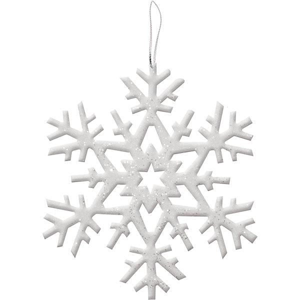 Украшение на елку B&amp;H Снежинка с блеском 25 см, белаяЁлочные игрушки<br>Характеристики товара:<br><br>• возраст: от 3 лет;<br>• упаковка: пакет;<br>• вес: 20 гр.;<br>• количество: 1 шт.;<br>• цвет: белый;<br>• высота: 25 см.;<br>• форма: снежинка;<br>• материал: пенопласт;<br>• бренд, страна бренда: B&amp;H;<br>• страна-производитель: Китай.<br><br>Подвеска «Снежинка» от торговой марки B&amp;H оригинальное елочное украшение поможет нарядить и сделать сказочно красивой новогоднюю елку или декор вашего дома. <br><br>Подвеска «Снежинка» выполнена из пенопласта высокого качества, в форме снежинки белого цвета и покрыта декоративными блестками. С помощью специальной петельки в виде красивой атласной ленточки, снежинку можно повесить  на праздничную новогоднюю елку.<br><br>Елочная игрушка - символ Нового года и Рождества. Она несет в себе волшебство и красоту праздника. Создайте в своем доме атмосферу веселья и радости, украшая новогоднюю елку нарядными игрушками, которые будут из года в год накапливать теплоту воспоминаний. <br><br>Подвеску «Снежинка», белый, 25 см., B&amp;H можно купить в нашем интернет-магазине.<br><br>Ширина мм: 2<br>Глубина мм: 250<br>Высота мм: 250<br>Вес г: 22<br>Возраст от месяцев: 36<br>Возраст до месяцев: 2147483647<br>Пол: Унисекс<br>Возраст: Детский<br>SKU: 7230488