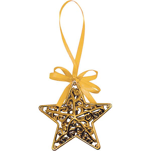 Объемное украшение на елку B&amp;H Звезда с лентой 11 см, золотаяЁлочные игрушки<br>Материал: пластик.<br>Размер: 11 см.<br><br>Ширина мм: 30<br>Глубина мм: 90<br>Высота мм: 90<br>Вес г: 12<br>Возраст от месяцев: 36<br>Возраст до месяцев: 2147483647<br>Пол: Унисекс<br>Возраст: Детский<br>SKU: 7230492
