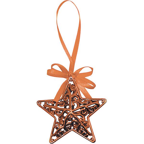 Объемное украшение на елку B&H Звезда с лентой 11 см, медная