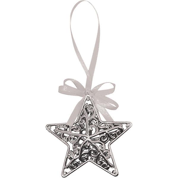 Объемное украшение на елку B&amp;H Звезда с лентой 11 см, серебрянаяЁлочные игрушки<br>Характеристики товара:<br><br>• возраст: от 3 лет;<br>• упаковка: пакет;<br>• вес: 12 гр.;<br>• количество: 1 шт.;<br>• цвет: серебро;<br>• высота: 11 см.;<br>• форма: объемная звезда;<br>• материал: пластик;<br>• бренд, страна бренда: B&amp;H;<br>• страна-производитель: Китай.<br><br>Подвеска объемная «Звезда» от торговой марки B&amp;H - оригинальное елочное украшение поможет нарядить и сделать сказочно красивой новогоднюю елку или декор вашего дома. <br><br>Подвеска объемная «Звезда» выполнена из пластика высокого качества, в форме объемной звезды с узорами серебристого цвета. С помощью специальной петельки в виде красивой атласной ленточки, звезду можно повесить  на праздничную новогоднюю елку.<br><br>Елочная игрушка - символ Нового года и Рождества. Она несет в себе волшебство и красоту праздника. Создайте в своем доме атмосферу веселья и радости, украшая новогоднюю елку нарядными игрушками, которые будут из года в год накапливать теплоту воспоминаний. <br><br>Подвеску объемную «Звезда», серебро, 11 см., B&amp;H можно купить в нашем интернет-магазине.<br>Ширина мм: 30; Глубина мм: 90; Высота мм: 90; Вес г: 12; Возраст от месяцев: 36; Возраст до месяцев: 2147483647; Пол: Унисекс; Возраст: Детский; SKU: 7230494;
