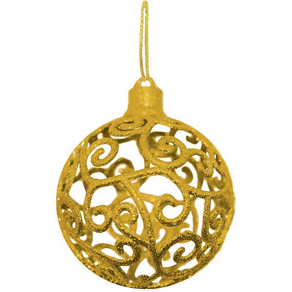 Объемное украшение на елку B&amp;H Шар 8 см, золотойЁлочные игрушки<br>Характеристики товара:<br><br>• возраст: от 3 лет;<br>• упаковка: пакет;<br>• вес: 26 гр.;<br>• количество: 1 шт.;<br>• цвет: золотой<br>• диаметр: 8 см.;<br>• форма: объемная, шар;<br>• материал: пластик;<br>• бренд, страна бренда: B&amp;H;<br>• страна-производитель: Китай.<br><br>Подвеска объемная «Шар» от торговой марки B&amp;H - оригинальное елочное украшение поможет нарядить и сделать сказочно красивой новогоднюю елку или декор вашего дома. <br><br>Подвеска объемная «Шар» выполнена из пластика высокого качества, в форме объемной шара с узорами золотого цвета и покрытием из декоративных блесток. С помощью специальной петельки украшение можно повесить  на праздничную новогоднюю елку.<br><br>Елочная игрушка - символ Нового года и Рождества. Она несет в себе волшебство и красоту праздника. Создайте в своем доме атмосферу веселья и радости, украшая новогоднюю елку нарядными игрушками, которые будут из года в год накапливать теплоту воспоминаний. <br><br>Подвеску объемную «Шар», золотой с глиттером, 8 см., B&amp;H можно купить в нашем интернет-магазине.<br>Ширина мм: 90; Глубина мм: 90; Высота мм: 90; Вес г: 26; Возраст от месяцев: 36; Возраст до месяцев: 2147483647; Пол: Унисекс; Возраст: Детский; SKU: 7230499;