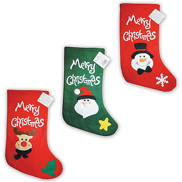 Новогодний носок с декором B&amp;H, 42 смНовогодние носки<br>Используется для декорирования интерьера. Размер изделия: 42 см. Цвет: красный, зеленый.<br><br>Ширина мм: 270<br>Глубина мм: 8<br>Высота мм: 480<br>Вес г: 31<br>Возраст от месяцев: 36<br>Возраст до месяцев: 2147483647<br>Пол: Унисекс<br>Возраст: Детский<br>SKU: 7230502