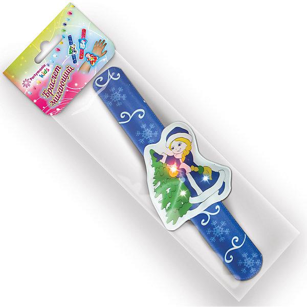 Мигающий браслет Partymania 22 см (в ассортименте)Карнавальные аксессуары для детей<br>Характеристики товара:<br><br>• возраст: от 3 лет;<br>• упаковка: пакет;<br>• длина: 22 см.;<br>• количество: 1 шт;<br>• материал: пластик;<br>• бренд, страна бренда: Partymania;<br>• страна-производитель: Китай.<br><br>Браслет мигающий «Новогодний» от торговой марки Partymania - оригинальный аксессуар, который обязательно порадует вашего ребенка и поможет сделать новогодние праздники незабываемыми.<br><br>Браслет мигающий «Новогодний» со светящимся декором. Декор светится при нажатии. Три варианта новогоднего дизайна, поставляются под одним артикулом, выбор дизайна уточняйте при заказе товара.<br><br>Браслет мигающий «Новогодний» выполнен из качественного пластика и закрепляется на запястье одним легким и быстрым движением руки.<br><br>Браслет мигающий «Новогодний», 1 шт., Partymania  можно купить в нашем интернет-магазине.<br>Ширина мм: 10; Глубина мм: 85; Высота мм: 270; Вес г: 18; Возраст от месяцев: 36; Возраст до месяцев: 2147483647; Пол: Унисекс; Возраст: Детский; SKU: 7230506;