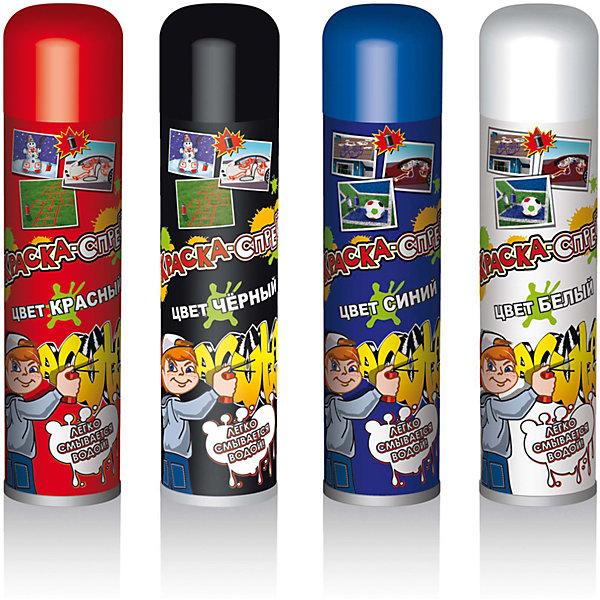Краска-спрей B&amp;H 300 мл (в ассортименте)Аксессуары для детского праздника<br>Краска-спрей может использоваться не только летом, но и зимой. Летом ей можно разрисовывать автомобили, стены,. Крыши, футбольные поля, а зимой - просто снег или снеговиков. Эта краска легко смывается водой. Цвет краски-спрея: черный и красный, белый и синий. Цвет колпачка указывает на цвет спрея. Объем баллона: 2х300 мл.<br><br>Ширина мм: 225<br>Глубина мм: 58<br>Высота мм: 175<br>Вес г: 401<br>Возраст от месяцев: 36<br>Возраст до месяцев: 2147483647<br>Пол: Унисекс<br>Возраст: Детский<br>SKU: 7230509