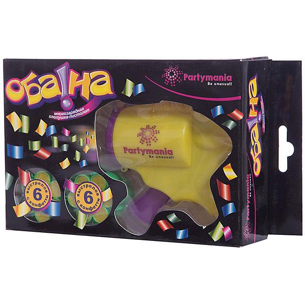 Хлопушка-пистолет Partymania Оба-наДетские хлопушки и бумфетти<br>Характеристики товара:<br><br>• возраст: от 3 лет;<br>• упаковка: картонная коробка;<br>• размер упаковки: 21х12х5 см.;<br>• количество: 1 шт;<br>• материал: пластик, фольга;<br>• бренд, страна бренда: Partymania;<br>• страна-производитель: Китай.<br><br>Многозарядная хлопушка-пистолет «ОБА-НА» от торговой марки Partymania - это яркий аксессуар для любого праздника. Хлопушка представляет собой пластиковый пистолет, который создает звуковой эффект выстрела и красочный эффект в виде разбрасываемого цветного конфетти из фольги . <br><br>В комплекте пистолет и 2 обоймы с 6-ю зарядами конфетти из фольги.<br><br>Многозарядная хлопушка-пистолет «ОБА-НА»  очень проста в использовании и поможет доставить массу выселых моментов вам и вашим гостям. Отличное развлечение для детских праздников.<br><br>Многозарядную хлопушку-пистолет «ОБА-НА», 1 шт., Partymania  можно купить в нашем интернет-магазине.<br>Ширина мм: 210; Глубина мм: 125; Высота мм: 48; Вес г: 102; Возраст от месяцев: 36; Возраст до месяцев: 2147483647; Пол: Унисекс; Возраст: Детский; SKU: 7230510;