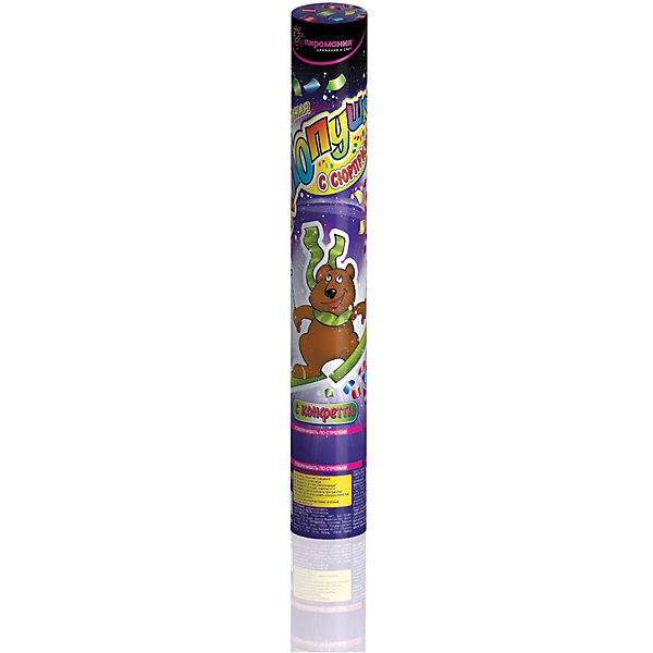 Пневматическая хлопушка Partymania, 30 см (с сюрпризом)Детские хлопушки и бумфетти<br>Идеально подходит для празднования Нового года, дней рождения, свадеб, карнавалов, парадов, вечеринок и т.п. на открытом воздухе. Наполнение: бумажное цветное конфетти + сюрприз (мягкая игрушка в полиэтиленовом пакете). Высота выстрела: 7-8 м. Для выброса конфетти используется сжатый воздух. Размер хлопушки - 300х50 мм.<br><br>Ширина мм: 295<br>Глубина мм: 50<br>Высота мм: 50<br>Вес г: 168<br>Возраст от месяцев: 36<br>Возраст до месяцев: 2147483647<br>Пол: Унисекс<br>Возраст: Детский<br>SKU: 7230522