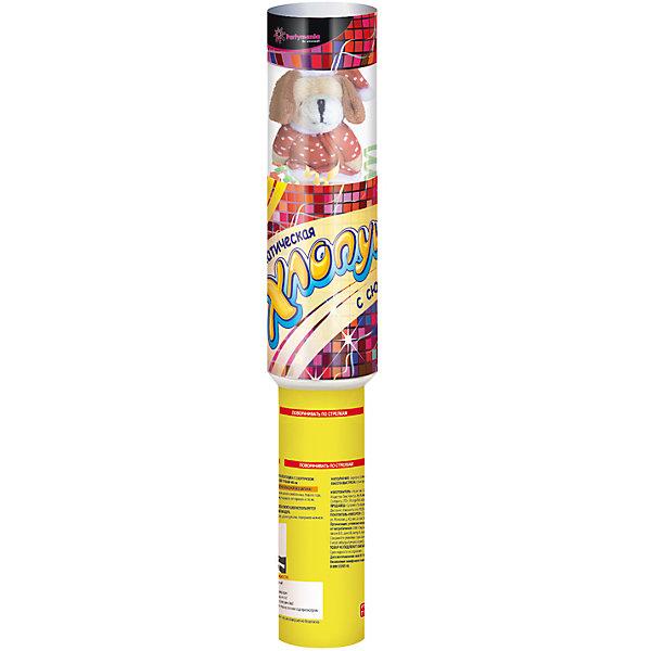 Пневматическая хлопушка Partymania Магическая, 40 см (с сюрпризом)Детские хлопушки и бумфетти<br>Пневматическая хлопушка - 40см, диаметр -  65 мм, с игрушкой, прозрачная туба. Наполнение: Фольгированное конфетти. Высота выстрела: 5-8 м.<br><br>Ширина мм: 70<br>Глубина мм: 70<br>Высота мм: 395<br>Вес г: 279<br>Возраст от месяцев: 36<br>Возраст до месяцев: 2147483647<br>Пол: Унисекс<br>Возраст: Детский<br>SKU: 7230523